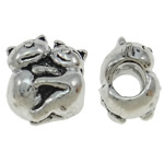 Zinc Alloy European Beads, Animal, antique silver color plated, without troll, nickel, lead & cadmium free, 11x12x9mm, Hole:Approx 4mm, 10PCs/Bag, Sold By Bag