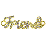 Letter Zinc Alloy Connector, word friend, gold color plated, with rhinestone & 1/1 loop, nickel, lead & cadmium free, 46x13x2mm, Hole:Approx 3mm, 100PCs/Lot, Sold By Lot