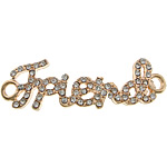 Letter Zinc Alloy Connector, word friend, rose gold color plated, with rhinestone & 1/1 loop, nickel, lead & cadmium free, 46x13x2mm, Hole:Approx 3mm, 100PCs/Lot, Sold By Lot