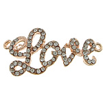Letter Zinc Alloy Connector, word love, rose gold color plated, with rhinestone & 1/1 loop, nickel, lead & cadmium free, 41x19x4mm, Hole:Approx 2mm, 50PCs/Lot, Sold By Lot