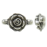 Flower Zinc Alloy Connector antique silver color plated 1/1 loop nickel lead   cadmium free 22x11x8mm Hole:Approx 1.5mm Approx 430PCs/KG
