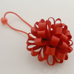 Ponytail Holder, Satin Ribbon, with Rubber & Plastic, Flower, elastic, red, 100x40mm, 30PCs/Lot, Sold By Lot