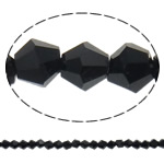 Imitation CRYSTALLIZED™ Element Crystal Beads, Bicone, faceted & imitation CRYSTALLIZED™ crystal, Jet, 4x4mm, Hole:Approx 1mm, Length:Approx 18.5 Inch, 10Strands/Bag, Sold By Bag