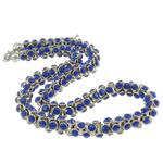 CCB Ожерелья, Пластик с медным покрытием, цинковый сплав Замок-карабин, с 7cm наполнитель цепи, Платиновое покрытие платиновым цвет, со стразами, голубой, не содержит никель, свинец, 5.5x10mm, Продан через Приблизительно 18 дюймовый Strand