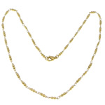 Stainless Steel Chain Necklace, 316L Stainless Steel, gold color plated, 9x2.50x2mm, Length:17.5 Inch, 20Strands/Lot, Sold By Lot