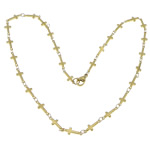 Stainless Steel Chain Necklace, 316L Stainless Steel, Cross, gold color plated, 13.50x5x1.80mm, Length:17.5 Inch, 20Strands/Lot, Sold By Lot