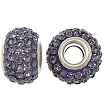 European Resin Beads, Rondelle, platinum color plated, brass double core without troll & with rhinestone, purple, 9x15mm, Hole:Approx 5mm, 50PCs/Lot, Sold By Lot