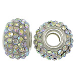 European Resin Beads, Rondelle, platinum color plated, brass double core without troll & with rhinestone, 9x15mm, Hole:Approx 5mm, 50PCs/Lot, Sold By Lot