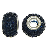 European Resin Beads, Rondelle, platinum color plated, brass double core without troll & with rhinestone, blue black, 9x15mm, Hole:Approx 5mm, 50PCs/Lot, Sold By Lot