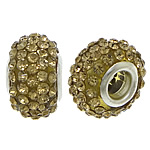 European Resin Beads, Rondelle, platinum color plated, brass double core without troll & with rhinestone, midium yellow, 9x15mm, Hole:Approx 5mm, 50PCs/Lot, Sold By Lot