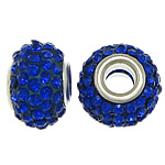 European Resin Beads, Rondelle, platinum color plated, brass double core without troll & with rhinestone, dark blue, 9x15mm, Hole:Approx 5mm, 50PCs/Lot, Sold By Lot