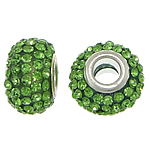 European Resin Beads, Rondelle, platinum color plated, brass double core without troll & with rhinestone, green, 9x15mm, Hole:Approx 5mm, 50PCs/Lot, Sold By Lot