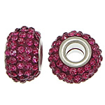 European Resin Beads, Rondelle, platinum color plated, brass double core without troll & with rhinestone, fuchsia, 9x15mm, Hole:Approx 5mm, 50PCs/Lot, Sold By Lot