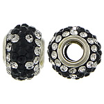 European Resin Beads, Rondelle, platinum color plated, brass double core without troll & with rhinestone & two tone, 9x15mm, Hole:Approx 5mm, 50PCs/Lot, Sold By Lot