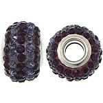 Европейские стильные бусины из полимерной смолы, канифоль, Круглая форма, Платиновое покрытие платиновым цвет, латунные Двухместный ядро без Тролль & со стразами & двухцветный, 10x15mm, отверстие:Приблизительно 5mm, 50ПК/Лот, продается Лот