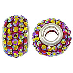 European Resin Beads, Rondelle, platinum color plated, AB color & brass double core without troll & with rhinestone, 10x15mm, Hole:Approx 5mm, 50PCs/Lot, Sold By Lot