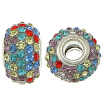 European Resin Beads, Rondelle, platinum color plated, brass double core without troll & with rhinestone, 10x15mm, Hole:Approx 5mm, 50PCs/Lot, Sold By Lot