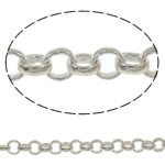 Brass Rolo Chain, silver color plated, nickel, lead & cadmium free, 2.5x0.8mm, Length:Approx 100 m, Sold By PC