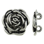 Flower Zinc Alloy Connector antique silver color plated 2/2 loop nickel lead   cadmium free 19.50x19.50x4mm Hole:Approx 2.5mm Approx 270PCs/KG