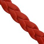 Sznurek skóra bydlęca, PU, Tkane, skręcony, czerwony, 7x2mm, długość:100 m, sprzedane przez wiele