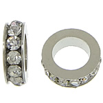 Rhinestone Spacers, with Zinc Alloy, Donut, platinum color plated, white, 3x8mm, Hole:Approx 5mm, 200PCs/Lot, Sold By Lot
