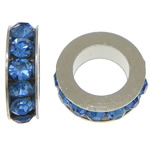 Rhinestone Spacers, with Zinc Alloy, Donut, platinum color plated, blue, 3x8mm, Hole:Approx 5mm, 200PCs/Lot, Sold By Lot