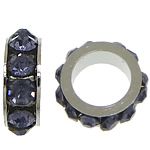 Rhinestone Spacers, with Zinc Alloy, Donut, platinum color plated, blue black, 3x8mm, Hole:Approx 5mm, 200PCs/Lot, Sold By Lot