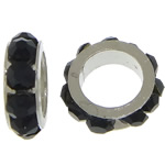 Rhinestone Spacers, with Zinc Alloy, Donut, platinum color plated, black, 3x8mm, Hole:Approx 5mm, 200PCs/Lot, Sold By Lot