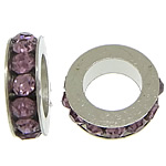 Rhinestone Spacers, with Zinc Alloy, Donut, platinum color plated, purple, 3x11mm, Hole:Approx 6mm, 200PCs/Lot, Sold By Lot
