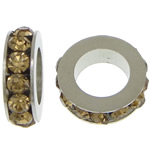 Rhinestone Spacers, with Zinc Alloy, Donut, platinum color plated, midium yellow, 3x11mm, Hole:Approx 6mm, 200PCs/Lot, Sold By Lot