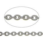 Stainless Steel Oval Chain, original color, 4x3x0.8mm, Length:100 m, Sold By Lot