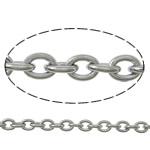 Owalne łańcucha ze stali nierdzewnej, Stal nierdzewna, oryginalny kolor, 3x2.50x0.60mm, długość:100 m, sprzedane przez wiele
