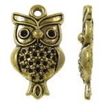 Zinc Alloy Pendant Rhinestone Setting Owl antique gold color plated nickel lead   cadmium free 15x27x4mm Hole:Approx 2mm Approx 415PCs/KG