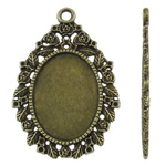 Zinc Alloy Pendant Cabochon Setting, Teardrop, antique bronze color plated, nickel, lead & cadmium free, 29x44x2mm, Hole:Approx 2.5mm, Approx 160PCs/KG, Sold By KG