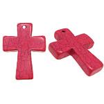 Wisiorek z turkusem, Turkus barwiony, Krzyż, czerwień lotosa, 32x42x7mm, otwór:około 2mm, 20komputery/wiele, sprzedane przez wiele
