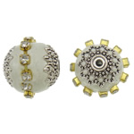 Indonesia Beads, with Brass & Zinc Alloy, Drum, plated, with rhinestone, white, 17x16mm, Hole:Approx 1mm, 100PCs/Bag, Sold By Bag
