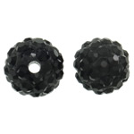 Rhinestone Clay Pave Beads, Round, with rhinestone, black, 10mm, Hole:Approx 1.5mm, 100PCs/Bag, Sold By Bag