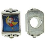 Pandor Kerst Kralen, Zinc Alloy, Rechthoek, antiek zilver plated, zonder troll & sticker, nikkel, lood en cadmium vrij, 9.50x15.50x8.50mm, Gat:Ca 5mm, 10pC's/Bag, Verkocht door Bag