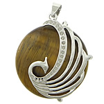 Tiger Eye Pendant Setting, with Zinc Alloy, Flat Round, platinum color plated, 37x37x10mm, Hole:Approx 4x6mm, Inner Diameter:Approx 1mm, 10PCs/Lot, Sold By Lot