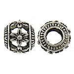 Zinc Alloy Hollow Beads, Drum, antique silver color plated, large hole, nickel, lead & cadmium free, 9x11mm, Hole:Approx 5mm, 200PCs/Lot, Sold By Lot