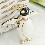 Key Chain, Zinc Alloy, Penguin, gold color plated, enamel & with rhinestone, nickel, lead & cadmium free, 42x23mm, Hole:Approx 2mm, 5PCs/Bag, Sold By Bag