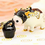 Zinc Alloy Key Chain, Cow, gold color plated, enamel & with rhinestone, nickel, lead & cadmium free, 30x15mm, Hole:Approx 2mm, 5PCs/Bag, Sold By Bag