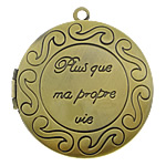 Brass Locket Pendants, Flat Round, antique bronze color plated, with letter pattern, nickel, lead & cadmium free, 33x33x7mm, Hole:Approx 2mm, Inner Diameter:Approx 25mm, 110PCs/Lot, Sold By Lot