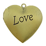 Brass Locket Pendants Heart word love antique bronze color plated brushed nickel lead   cadmium free 29x27mm Hole:Approx 2mm Inner Diameter:Approx 21x20mm 120PCs/Lot