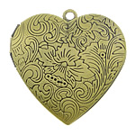 Brass Locket Pendants Heart antique bronze color plated nickel lead   cadmium free 29x27x7mm Hole:Approx 2mm Inner Diameter:Approx 21x20mm 50PCs/Lot