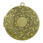 Brass Locket Pendants, Flat Round, antique bronze color plated, nickel, lead & cadmium free, 33x33x7mm, Hole:Approx 2mm, Inner Diameter:Approx 24mm, 110PCs/Lot, Sold By Lot