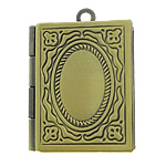 Brass Locket Pendants Rectangle antique bronze color plated nickel lead   cadmium free 19x23x7mm Hole:Approx 2mm Inner Diameter:Approx 10x15mm 120/
