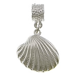 Brass European Pendant, with Zinc Alloy, Shell, silver color plated, without troll & with rhinestone, nickel, lead & cadmium free, 19x20x7mm, 32mm, Hole:Approx 4.5mm, 200PCs/Lot, Sold By Lot