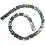 Koraliki Abalone, Muszla Abalone, Prostokąt, bez zawartości niklu, ołowiu i kadmu, 6x8x4mm, otwór:około 1mm, długość:16 cal, 10nici/wiele, sprzedane przez wiele