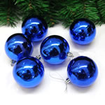 Plastic Christmas Balls, Round, plated, blue, 60mm, 25Bags/Lot, 6PCs/Bag, Sold By Lot